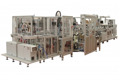 Semiautomatic assembling and microleaking testing line for single lever mixers with tube