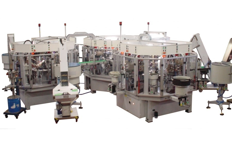 "Automatic transfer line, with no. 4 rotary table for traditional 3/8"" - 1/2"" headwork assembling"